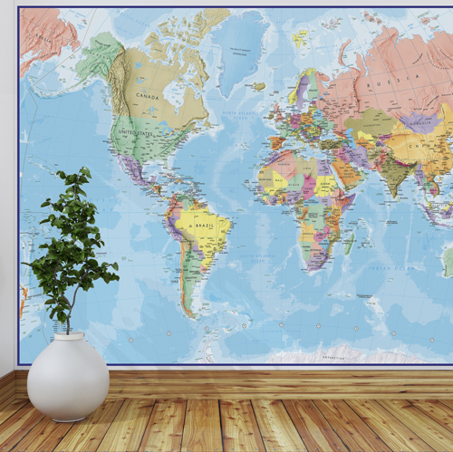 Giant World Map Mural - Blue Ocean
