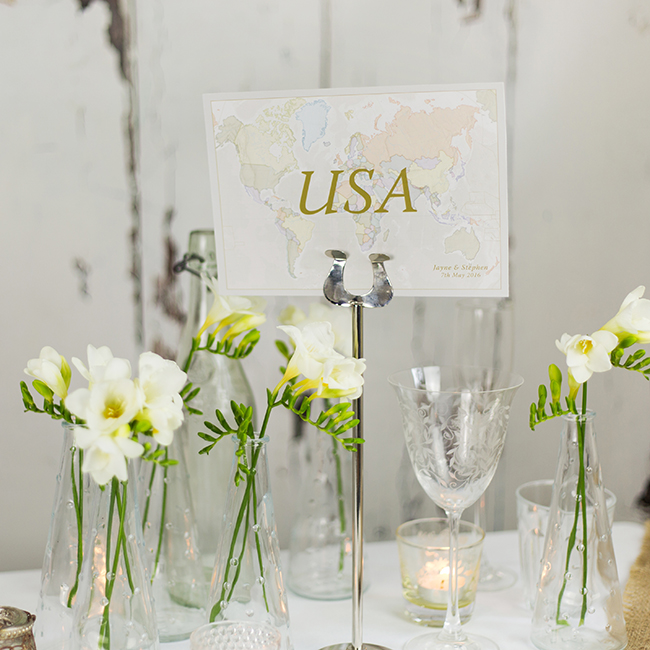 Classic World Map Wedding Table name Card