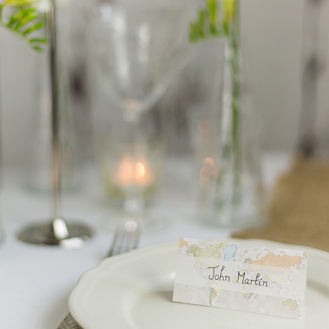 Classic world Map Wedding Table name cards