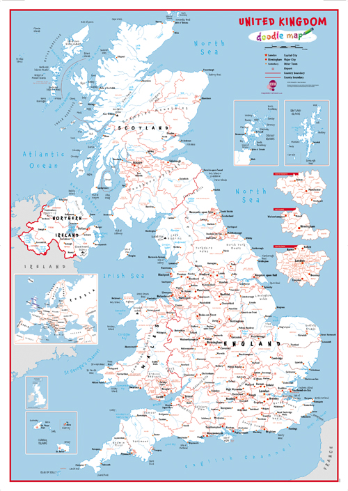 Doodle UK Map With Crayons