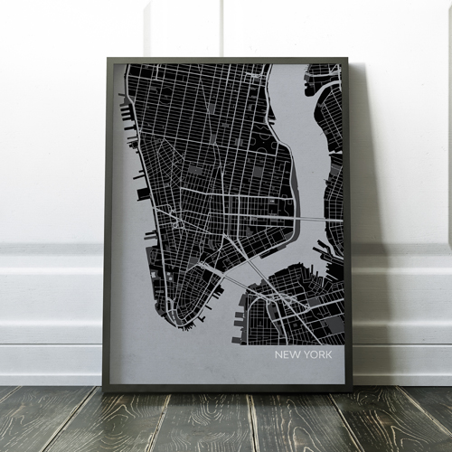 Charcoal New York City Street Map Print