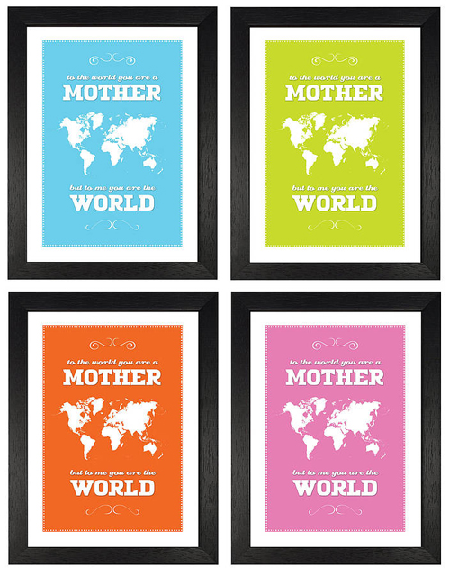 Mother's World Map Print