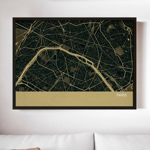 Straw Paris City Street Map Print