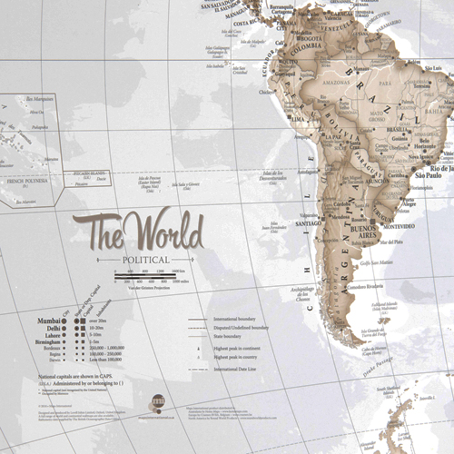 Canvas Art World Map - Neutral