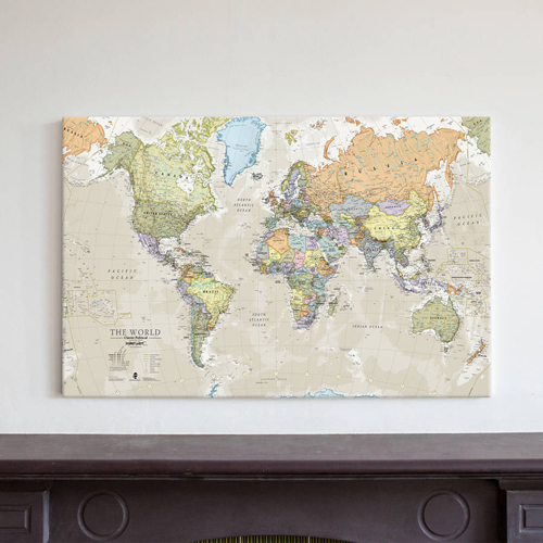 Canvas Classic World Map