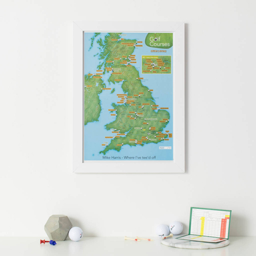 Scratch Off UK Golf Courses Print