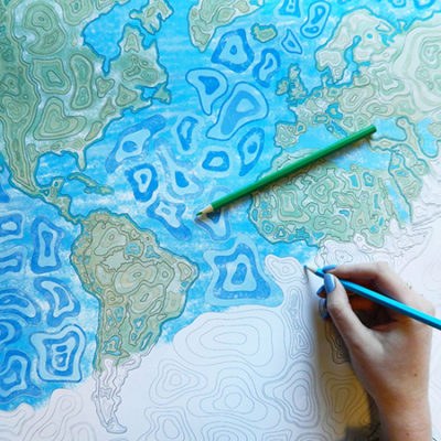 Adult Colouring Map Contours