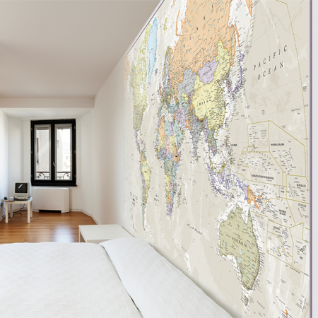 Classic World Map Mural Square