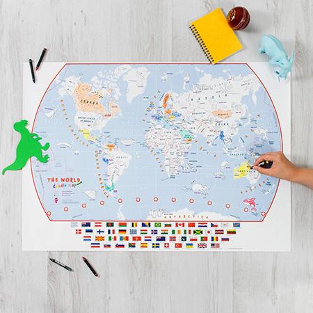 Doodle World Map Flat