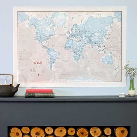 The World is Art World Map - Aqua