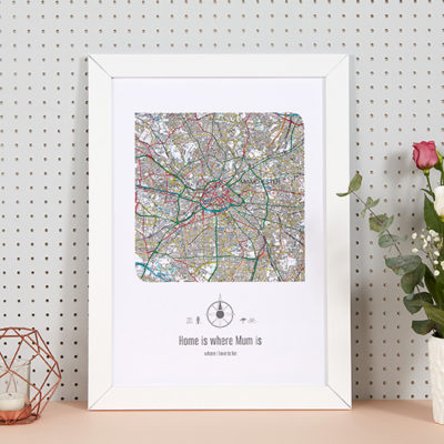 Personalised Postcode Map Print - Mothers Day