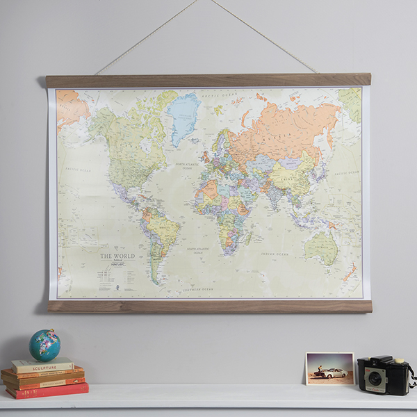 Classic World Map with Wooden Hanging Bars - Maps International