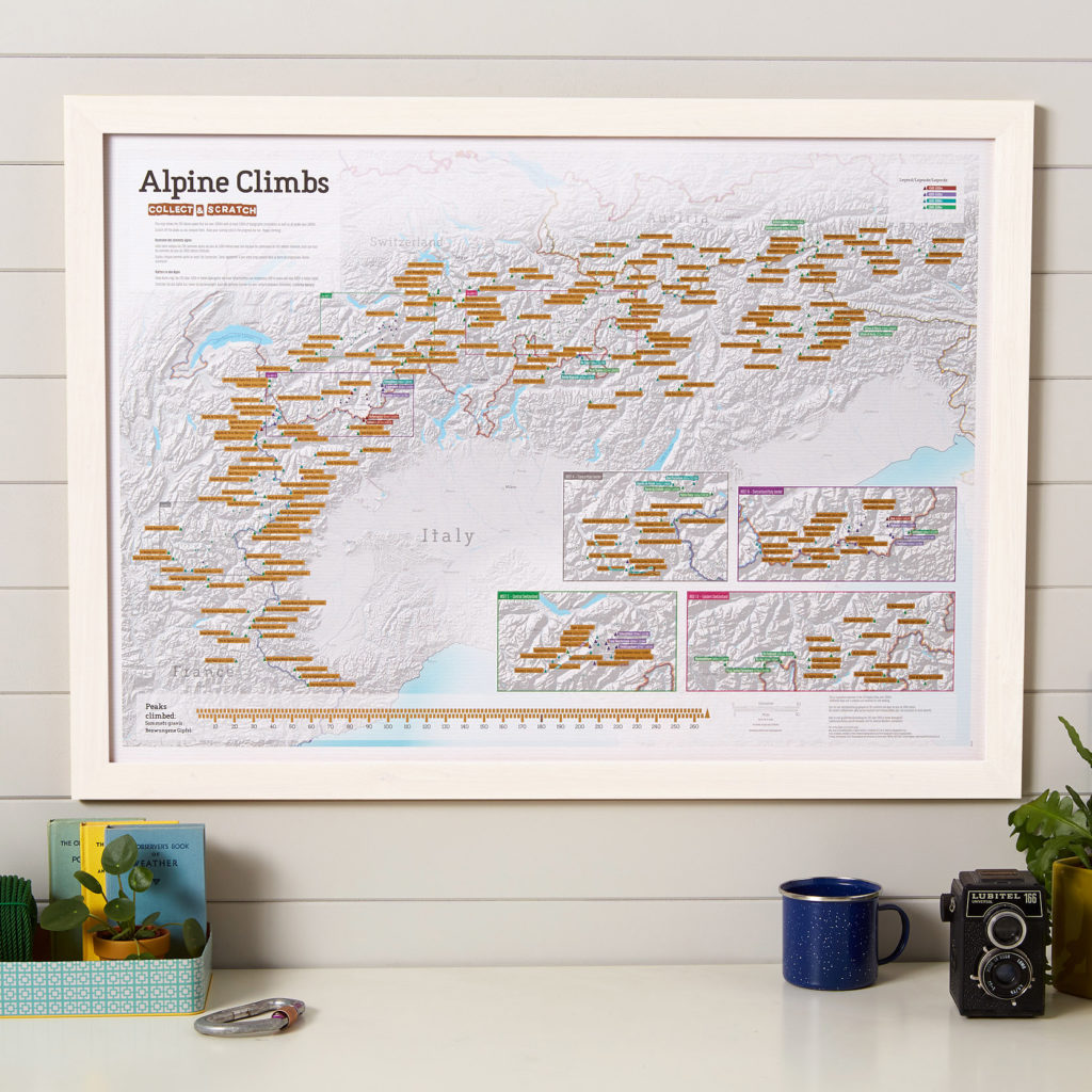 Alpine Climbs map print