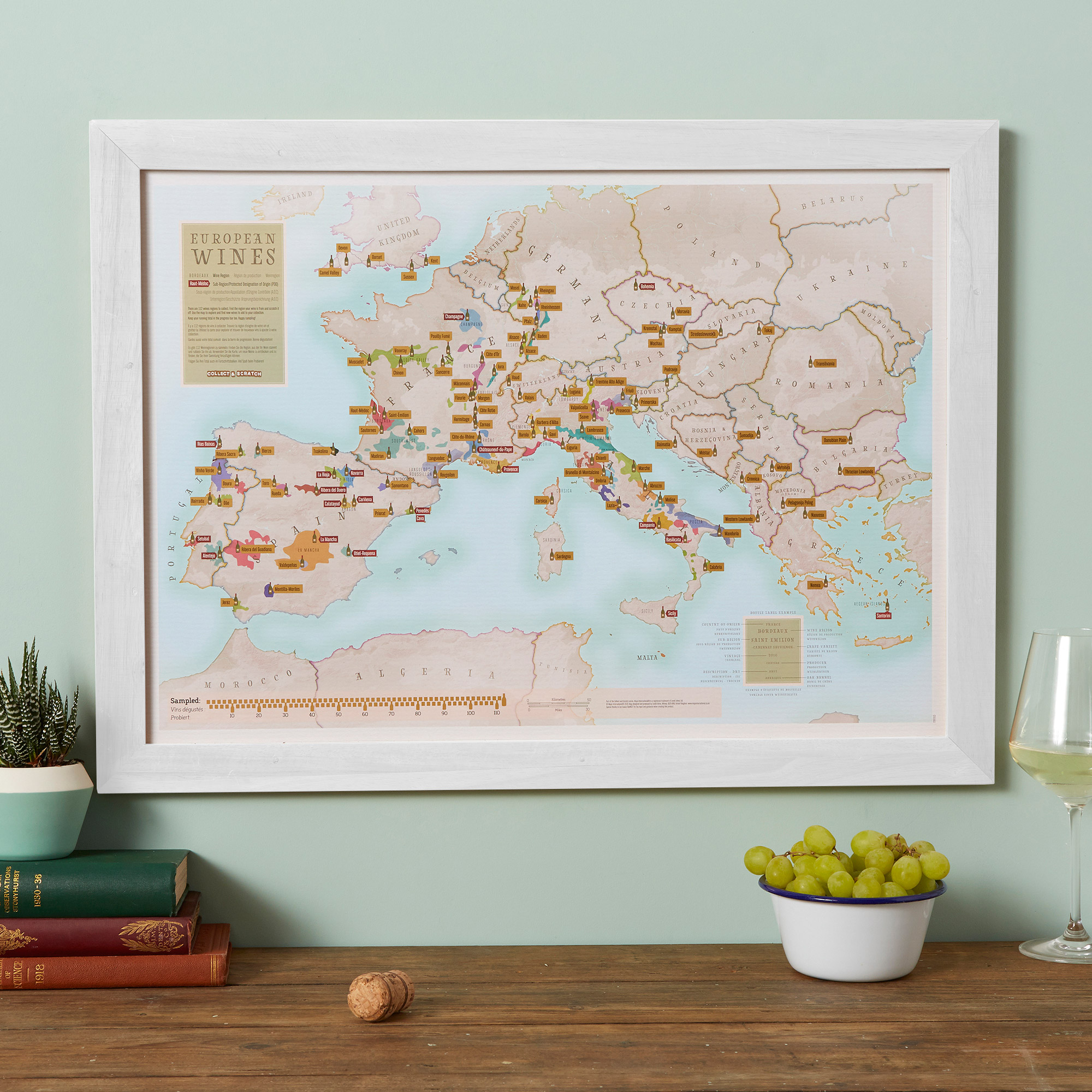 Scratch Off European Wine Print White Frame