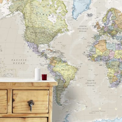 Giant World Map Classic Mural