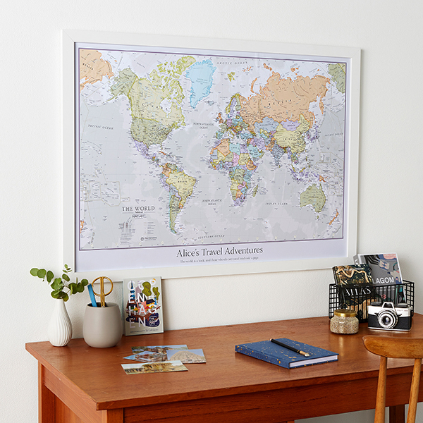 Christmas Gift Personalised Classic World Map