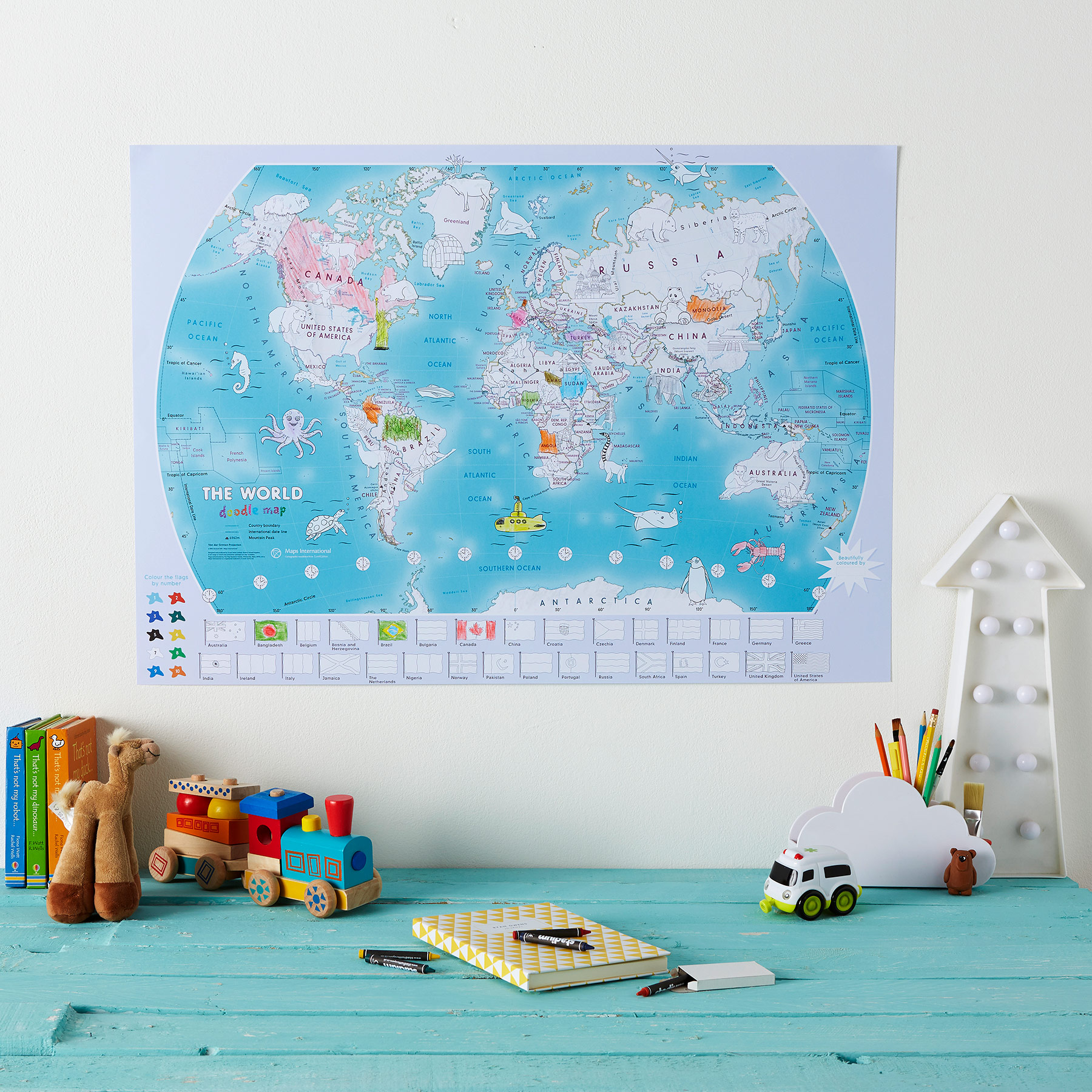 Doodle world Map for Children image