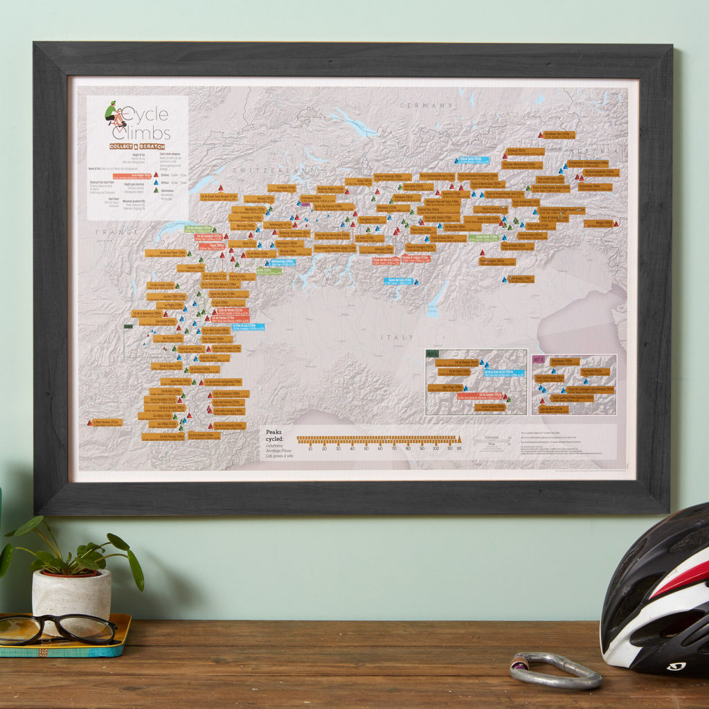 Scratch Off Alpine Cycle Climbs print
