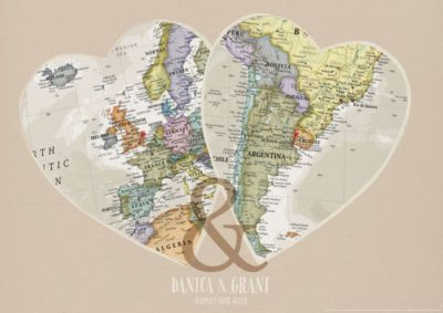 Personalised Location Map Hearts Print image