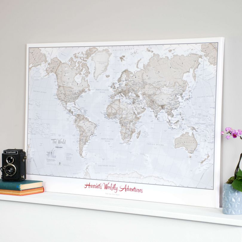 Personalised World Is Art Wall Map Neutral shades