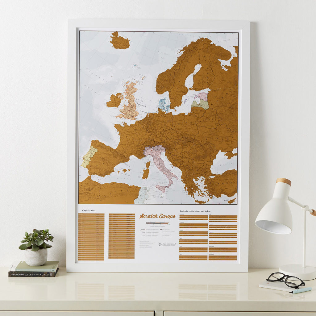 Scratch Europe on White Wood Frame image