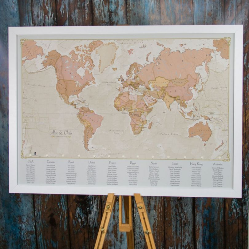 Antique World Map Wedding Table Plan Image