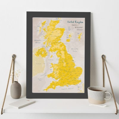 Uk as Art Daffodil Map in Black wood frame image