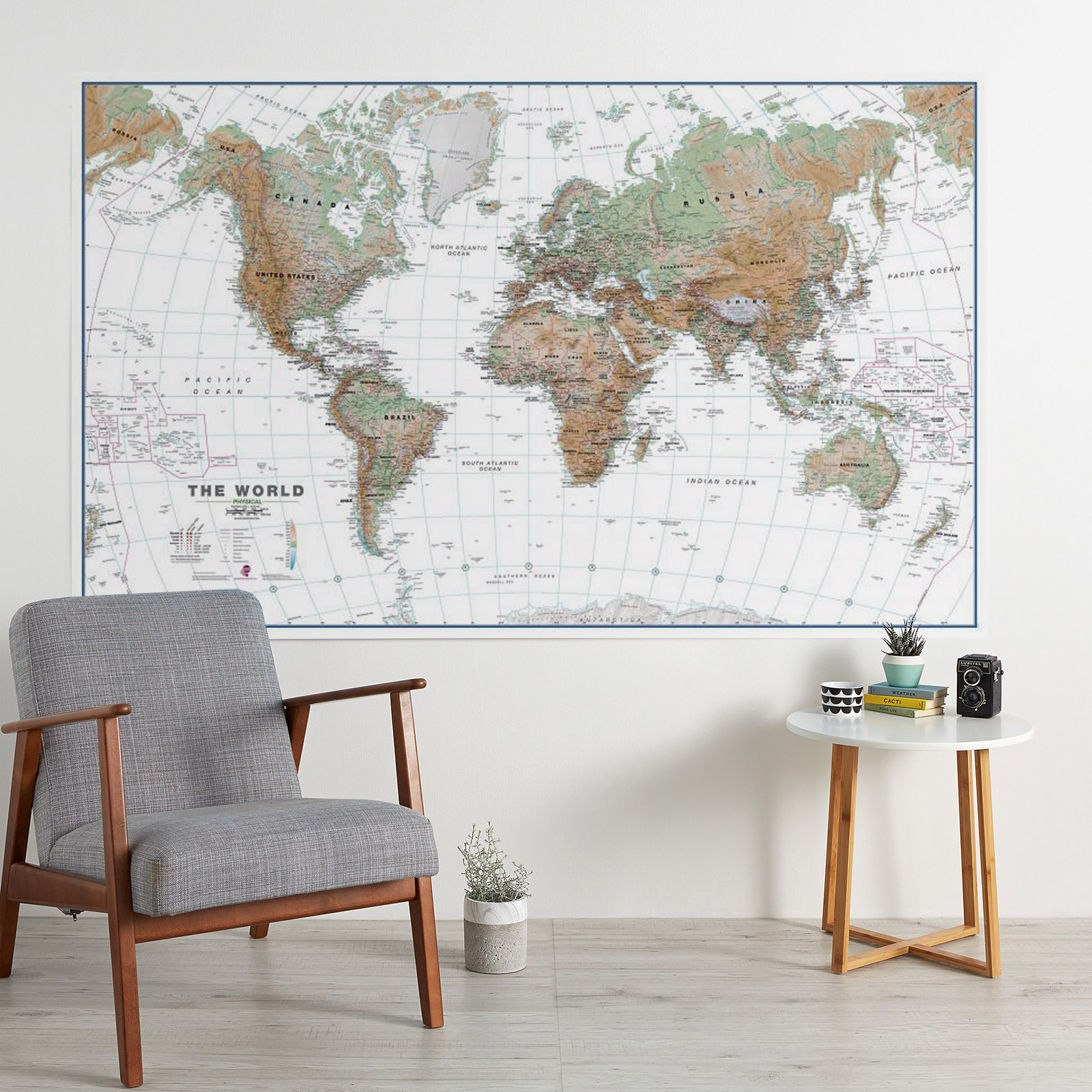 huge world map physical white ocean image