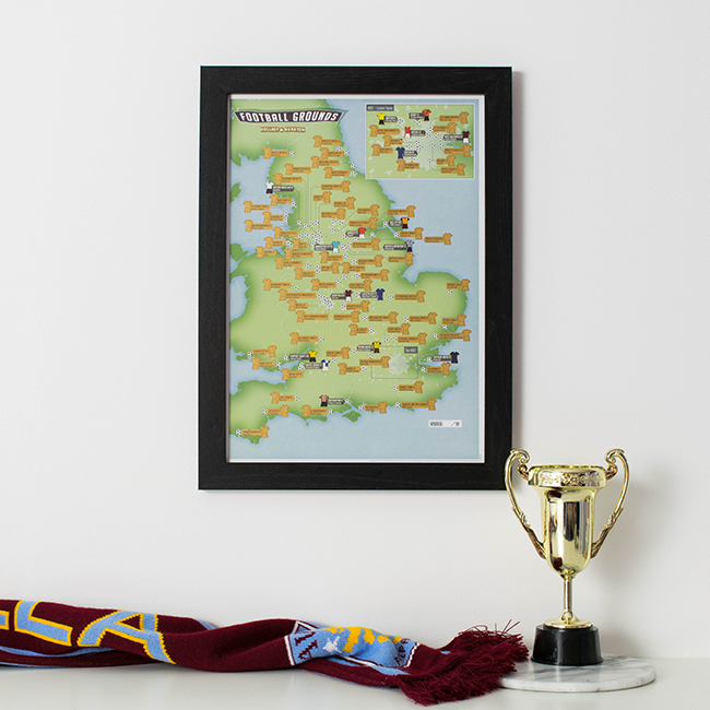 Christmas gift guide for men - Football 92 Grounds map image