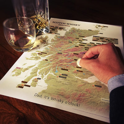 Christmas Gift guide for men - Scotch Whisky Distilleries map image