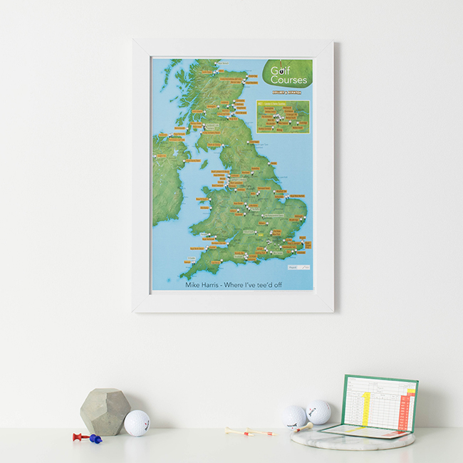 Christmas Gift Guide for Men - UK Golf course scratch print image