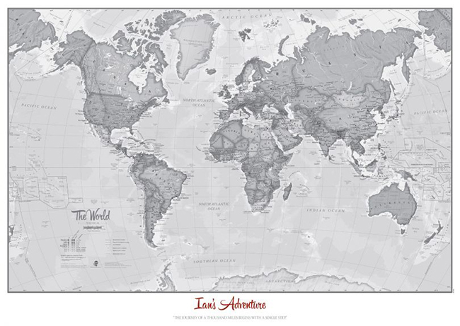 The World As Art Grey Map