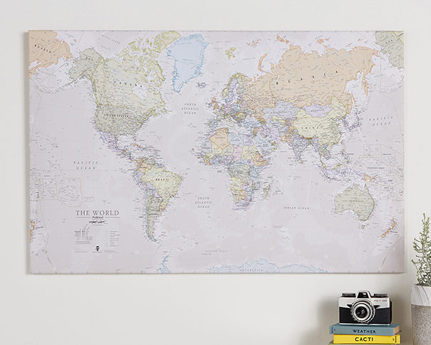 Classic World Map Canvas
