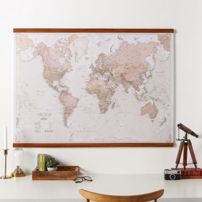 Antique World Map on Wooden Hanging Bars