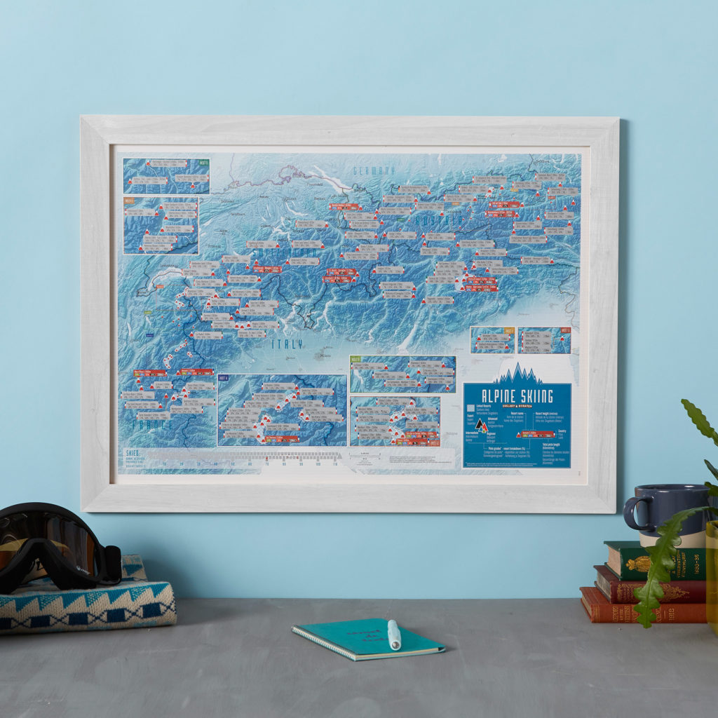 Scratch Off Alpine Skiing Map Print - image