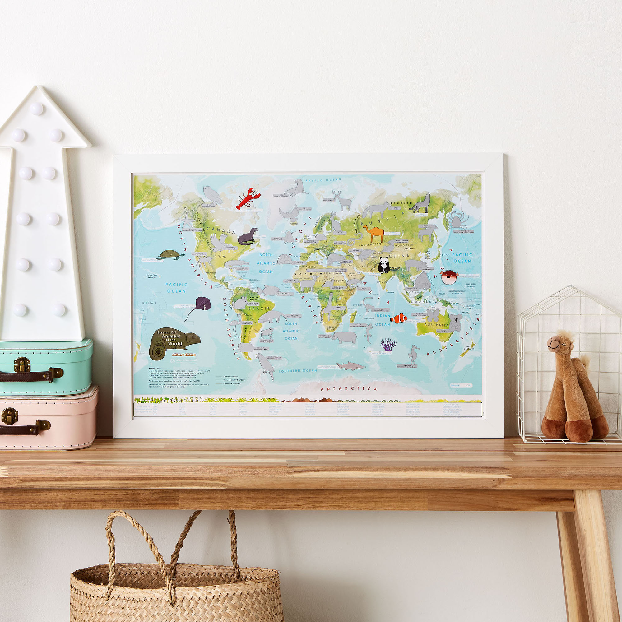 Scratch Off Kids Animals Map of the World