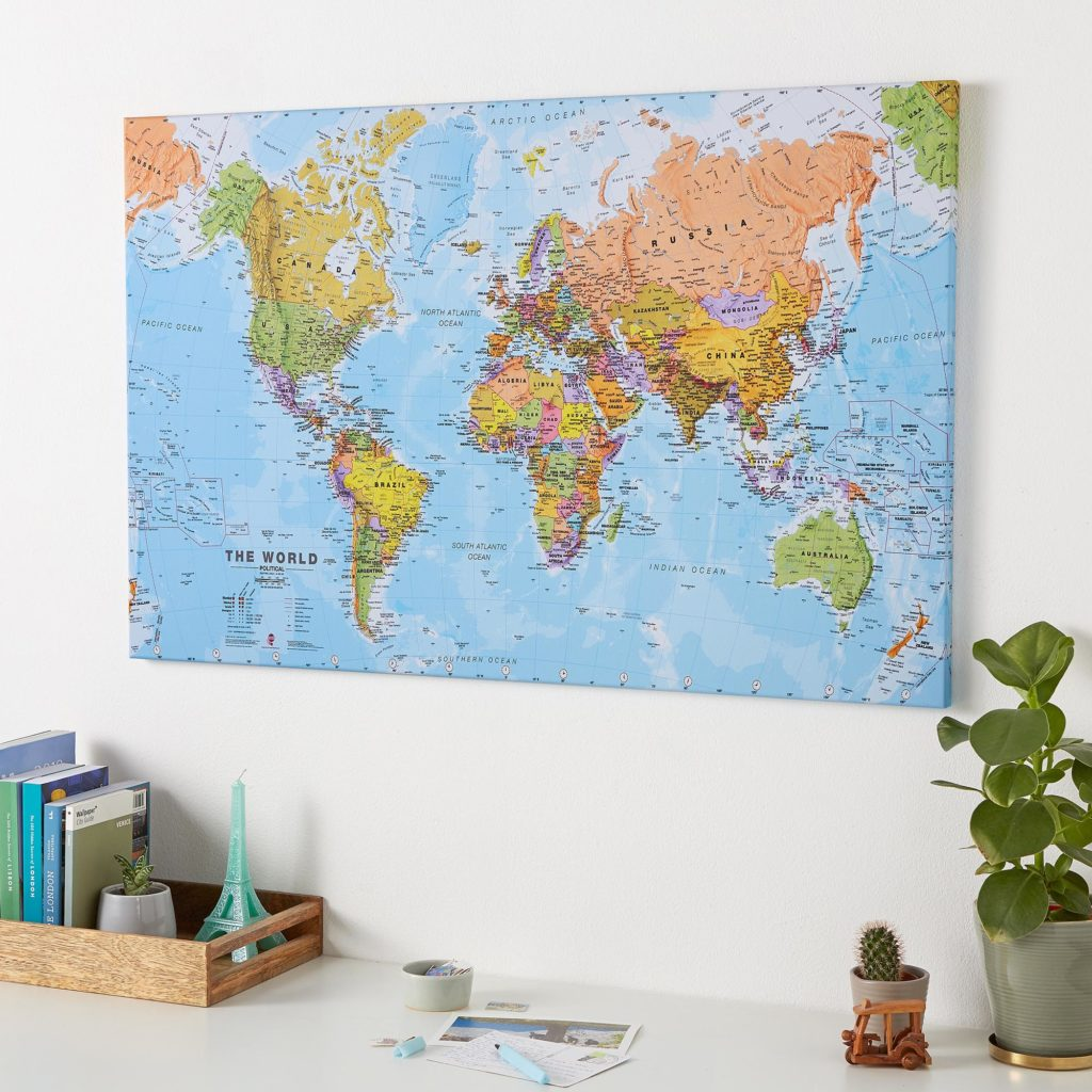 Political World Map on Canvas