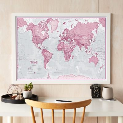 Artistic Wall Maps - Pink