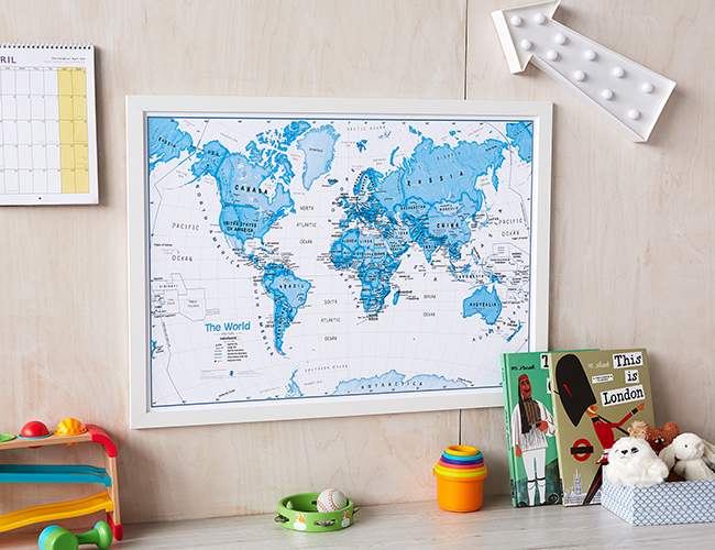 Art Map of the World Blue