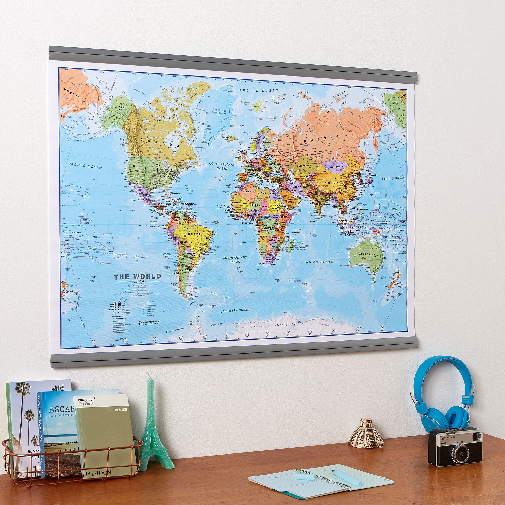 Political World map Rolled Canvas with hanging bars