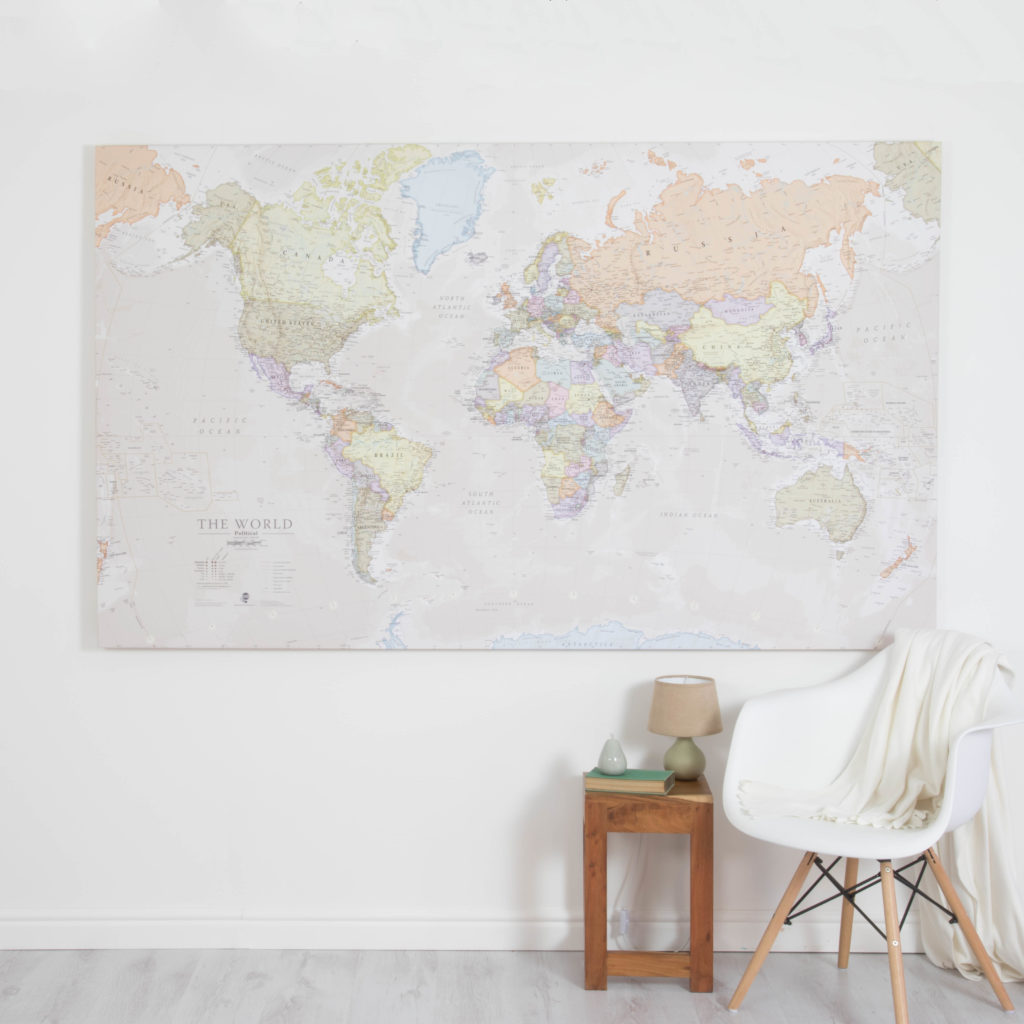 Large World Map - Classic Wall Map Canvas Huge
