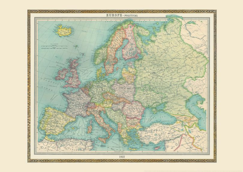 Vintage World Map blog - map of Europe image