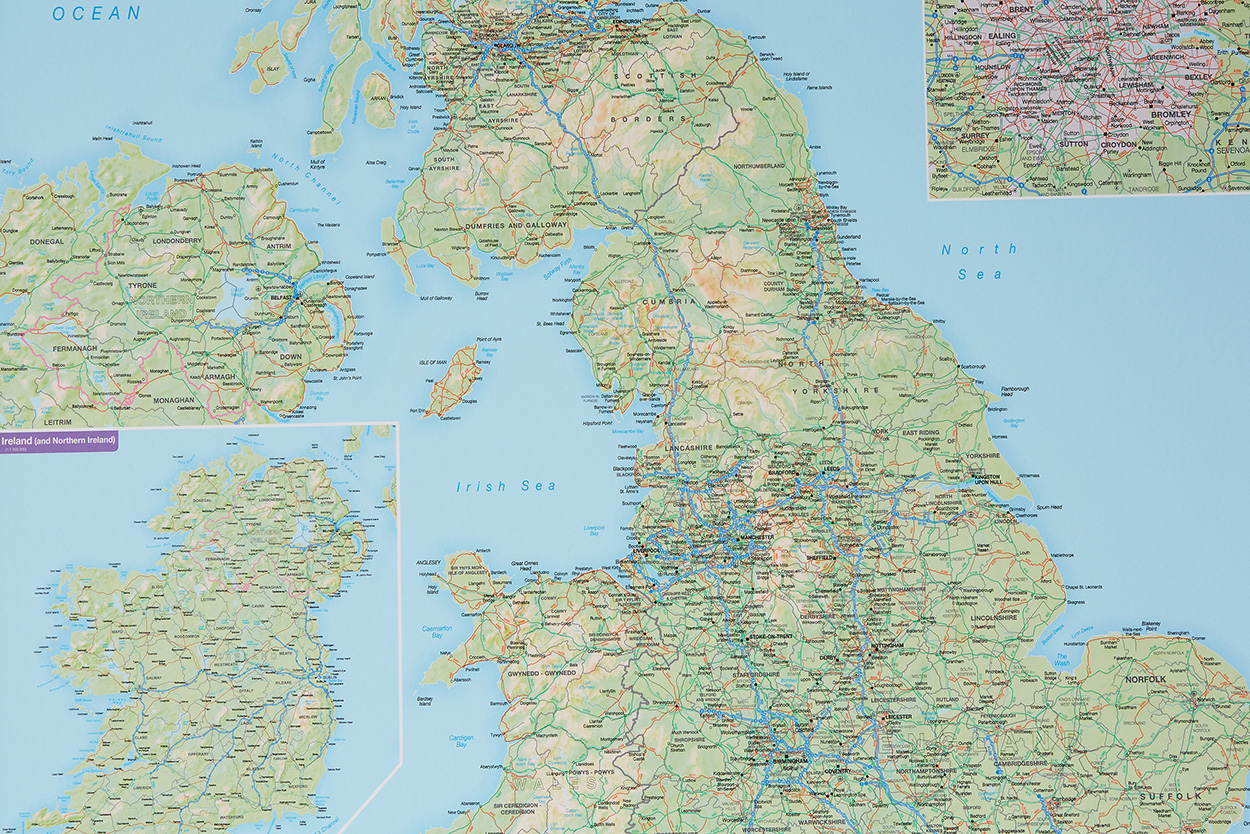 Laminated World Map Blog - image of British Isles routeplanning map