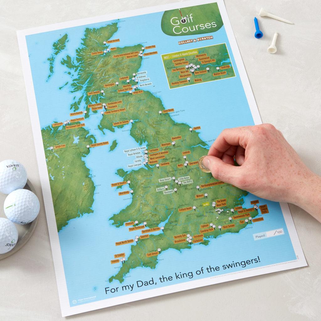 Scratch Off UK Golf Map print image