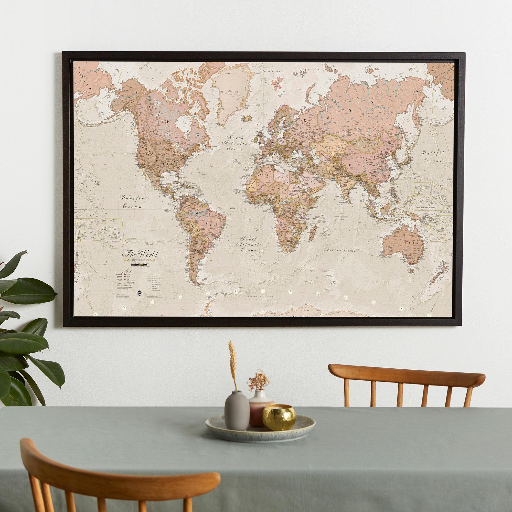 framed world map - Antique world map canvas floater