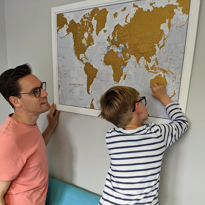 Scratch the world map print