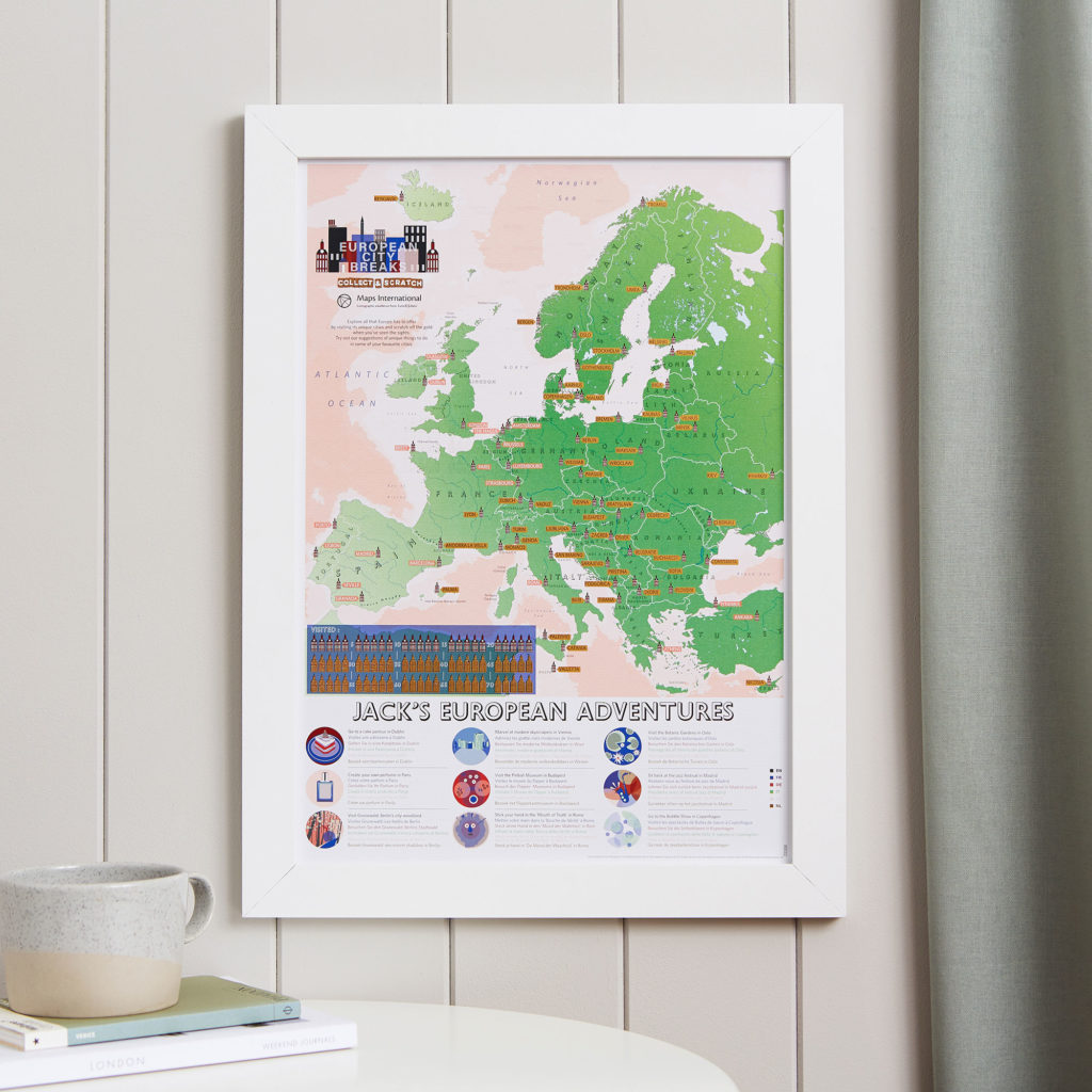 Scratch Off European City Breaks in White Frame personalised