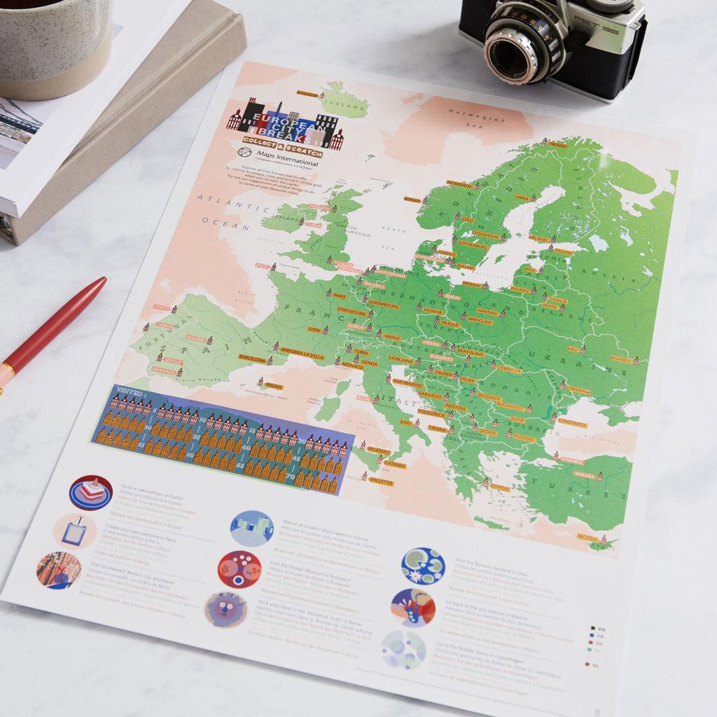 Scratch Off European City Breaks Map Print