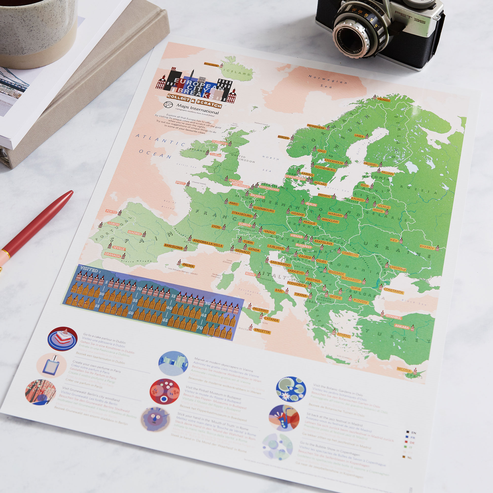 Scratch Off European City Breaks Map Print
