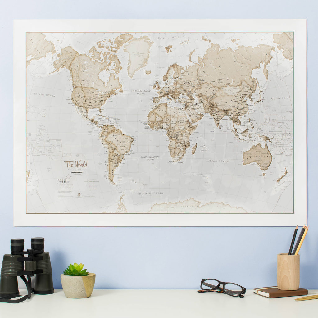 The World Is Art - Neutral World Map Poster
